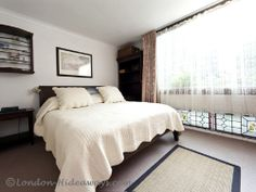Double bed in master bedroom London Apartment, Furnished Apartment, Barbican, One Bedroom Apartment, Private Garden, Double Beds, Master Bedroom, Loft, Furniture