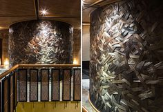 Woven Bamboo Walls Create A Textured Room In This Restaurant