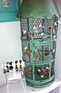 Beautiful color and patina on this unique birdcage turned earring display. From Gift Shop Magazine blog.