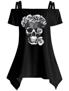 Women Blouses Shirts Skull Print Shirts Off Shoulder Female Tunic Mujer Sexy Women Tops Off Shoulder T Shirt, Cold Shoulder Blouse, Shoulder Tops, Shoulder Sleeve, Shoulder Sling, Shoulder Dress, Rock Elegante, Blouses For Women, T Shirts For Women