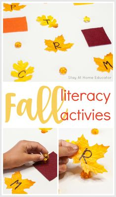 What's better than fall alphabet activities for preschooler? Fall alphabet activities that teach math skills TOO! 5 easy and engaging ideas to try! Fall Preschool Activities, Circle Time Activities, Alphabet Activities, Language Activities, Infant Activities, Learning Activities, Teaching Resources, Preschool Centers, Preschool Alphabet