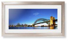 Sydney Harbour Bridge Framed Print, Metallic, Modern, White, White, Single piece, 10 x 24 inches
