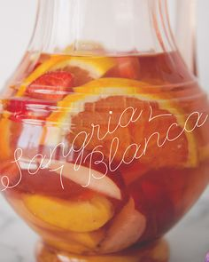 SANGRIA BLANCA // The Kitchy Kitchen2 white peaches -2 white nectarines -4 oranges (I used a combo of tangelos,blood oranges, and juicy valencias.) -1 pint strawberries -1⁄2 cup Rose-Infused Simple Syrup (recipe below) -Four 750ml bottles #Padrillos Torrontes by #ErnestoCatena