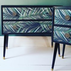 SOLD Upcycled Mid Century Tropical Botanical Palm Print Pair | Etsy