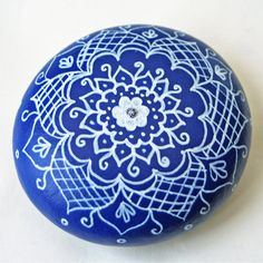 Hand Painted White and Blue Work Floral Rock by JandEDesigns, $20.00