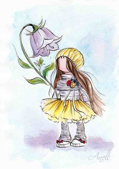 Little brown haired girl with campanula Watercolor Print - Watercolor Painting - Poster Giclee wall print - Baby nursery print Kids room