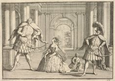 Satire on the opera, apparently Handel's 'Flavio', act III, scene 4, with the three Italian opera singers of the title on the stage of the King's Theatre in the Haymarket singing the roles of Flavio, Emilia and Guido respectively. 1723 Etching and engraving