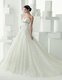 206 CADENA | Wedding Dresses | 2014 Rosa Clara Collection | Rosa Clara (Shown with Beaded Belt at Empire waist & without sleeveless Illusion Lace Jacket)