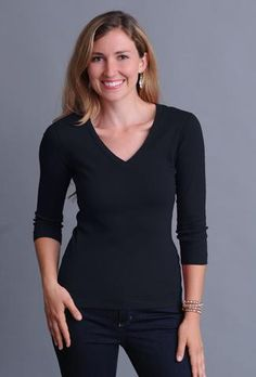 Tops and tees in the Three Dots Fitted Collection are narrower through the body for a slim look. Flat lock stitching adds durability and a unique, sophisticated finish. Three Dots, Tee Shirts, Tees, Basic Style, Medium, V Neck Tee, Clothes For Women, Sleeves, Cotton