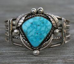 Vintage Navajo Native American TURQUOISE Sterling Silver Cuff Bracelet 54 gr #BenChapo