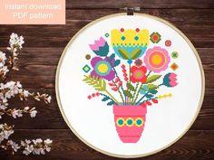 Easy Cross Stitch Patterns, Simple Cross Stitch, Embroidery Art, Cross Stitch Embroidery, Pattern Flower, Tapestry Crochet, Needlepoint, Etsy, Diy Crafts