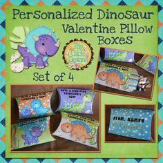 Personalized Printable Dinosaur Valentine Pillow Boxes.