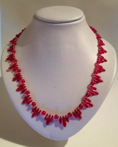 Red Art Deco Inspired Beaded Necklace by JewelleryByJanine on Etsy, £20.00