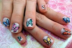 37 Cute Butterfly Nail Art Designs Ideas You Should Try Butterfly Nail Designs, Butterfly Nail Art, Cute Butterfly, Purple Butterfly, Butterfly Wings, How To Make Butterfly, Nail Printer, Nail Art Designs Images, Nail Art Techniques