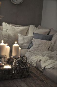 candle sticks and plenty of plus pillows.