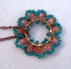 Teal Beadwork Pendant Handmade Necklace Holiday by BohemiaJewelry