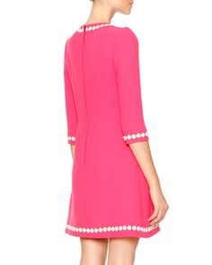 W084Q Dolce & Gabbana Daisy Wool-Crepe Fit-and-Flare Dress, Pink