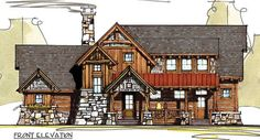 The Bitterroot timber home plan by MossCreek Designs features an open concept design with a screened porch, deck, great room, open loft and main-floor master bedroom suite. Rustic House Plans, Dream House Plans, Cabin Plans, Small House Plans, House Floor Plans, Log Home Designs, Rustic Home Design, Cottage Design, House Design