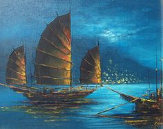 Oriental boat, Chinese Junk ship, vintage oil painting, signed, night scene, seascape, Japan