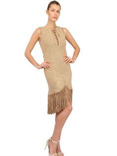 Outstanding Crochet: Crochet Dress with leather fringe from Ferragamo.