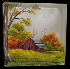 LOVE this fall scene glass block - old barn Autumn Painting, China Painting, Painted Glass Blocks, Hand Painted, Glass Block Crafts, Block Painting, Tole Painting, Image Nature, Barn Art