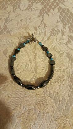 Magnetic  Hematite  Bracelet Hematite Bracelet, Magnets, Hoop Earrings, Bracelets, Jewelry, Jewlery, Jewerly, Schmuck, Jewels