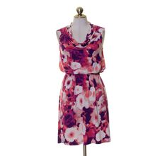 Apt. 9 White Pink Purple Artsy Print Stretch Knit Waist Tie Sheath Dress PS #Apt9 #Sheath #Casual