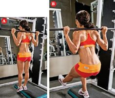 Set up an aerobic step inside a Smith machine and, resting the bar across your upper traps, stand with one foot on the platform and the other hanging straight down off the floor. Unrack the bar and extend your free leg forward at about a 45-degree angle while keeping the other foot planted on the platform.