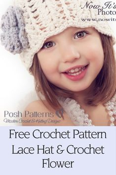 Free Crochet Pattern - This sweet crochet lace hat pattern is perfect for any little girl! It's great for many seasons and looks adorable in a cotton yarn for summertime.