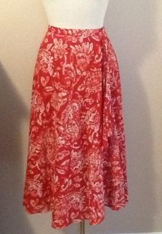 Red Pink Floral COLDWATER CREEK Lined Full Skirt Size M 10/12 #ColdwaterCreek #FullSkirt