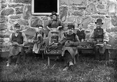 Shoemakers, Wales Trawsfynydd, Cymru [ca. 1885]The 1881 census for Trawsfynydd shows that the village contained many men who worked in the nearby slate quarries. These quarrymen needed boots and shoes and several shoemakers and bootmakers moved to the village to supply that need. This photo may be of William Jones of 6 Rectory Street, as he is listed as being a shoemaker who employed 3 men. In 1881 William Jones was 45 years old