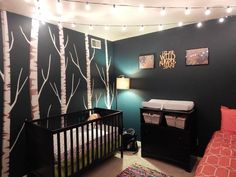 Where the wild things are nursery - don't like the dark color on all walls. love the trees, would put leaves on em