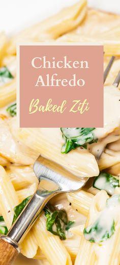 Baked Chicken Alfredo Ziti Best Pasta Dishes, Creamy Pasta Dishes, Baked Ziti, Baked Chicken, Healthy Chicken, Chicken Recipes, Cooking Chicken To Shred, How To Cook Chicken, Chicken With Italian Seasoning