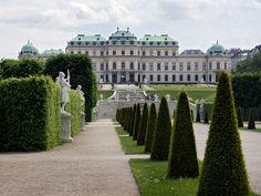 Gardens (by Dominique Girard, ca. 1717) and upper Belvedere palace (Johann Lukas von Hildebrandt, 1717-23).