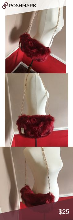 Dark Red Faux Fur Purse Brand new. Perfect for a date night or even a dinner party. Bags Shoulder Bags