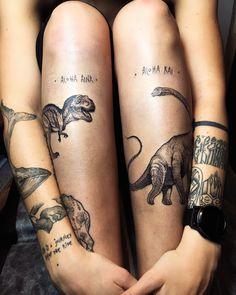 New eternal guys for @natalieorlova! ❤️ продолжаем меняться с Наташей: мой гардероб уже почти полностью состоит из её кайфовых творений @durpee.showroom , а она продолжает покрываться моими чернильными картинками)) а ведь лет 10 назад, когда познакомились, ничто не предвещало #tattoo #ink #dinosaur #dino #dinosaurtattoo #trex #diplodocus #myforestink