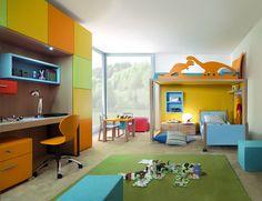 Kinderzimmer komplett Set Hochbett mit Dinosauriern