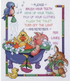 Janlynn Bathtime Rules - Cross Stitch Kit. Follow the Bathtime Rules in this whimsical Counted Cross Stitch design by Stoney Creek Collection.  Each kit contain