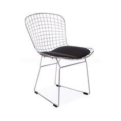 Bertoia Wire Side Chair - Black Seat Pad | Vertigo Interiors