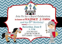 Knight Birthday Party Invitation Castle by AsYouWishCreations4u, $14.00