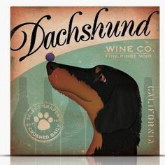 Dachshund Wine Company artwork original graphic by geministudio