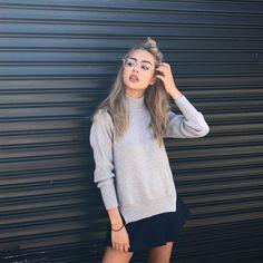 Lilymaymac styling grey sweater with bandage black skirt