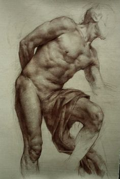 classicaldrawing:  Colleen BarryDraped Male FigureSanguine on paper11 in. x 17 in.2012 (thank you ekitson for the information)