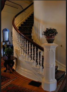 Love this curve and the way the staircase just seems to disappear As it goes around the bend. More