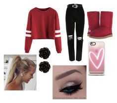 """""""red and black- Alpha's mate"""" by countrylove531 on Polyvore featuring River Island, UGG Australia, Casetify and Erica Lyons"""