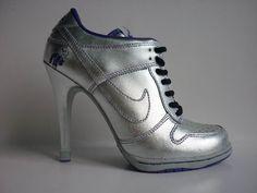 Silver Nike high heels