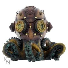 Charming Steampunk Octobox from Nemesis Now.  A bronze octopus lying on its tentacles with cogs for its eyes and a box inside its head for keeping wealth. The trinket box is made from fine, hand-painted resin.  It measures approximately 20 cm at its longest point. Nemesis Now are the masters of gothic and fantasy art and modelling. They work with the world's leading fantasy artists and designers to product stunning collectables.