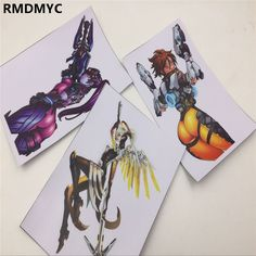 RMDMYC 3pcs/set 12cm overwatcheses Stickers Mercy Tracer Widowmaker LOGO Sticker for Wall notebook DIY OW Sticker Kids Toys Gift