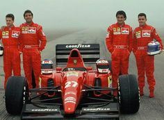 press launch at Maranello of the Ferrari with drivers Jean Alesi & Ivan Capelli & test drivers Nicola Larini & Gianni Morbidelli, 1992 World Championship Sports Car Racing, F1 Racing, Race Cars, Ferrari Scuderia, Ferrari F1, Michele Alboreto, Canadian Grand Prix, Ferrari World, Michael Schumacher