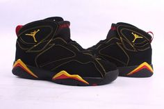 nike jordan vii black yellow men shoes-#27394-660